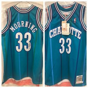 Alonzo Mourning Signed Hornets Authentic Jersey (BAS LOA) proof