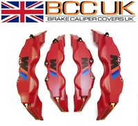 NEW BIG RED Brake Caliper Covers Kit Black ///M Logo Front Rear 4x L+M fits BMW