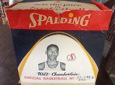 Rookie Era Wilt Chamberlain Endorsed NBA Spalding Basketball and Display Box