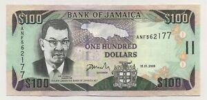 Jamaica 100 Dollars 15-1-2009 Pick 84.d UNC Uncirculated Banknote