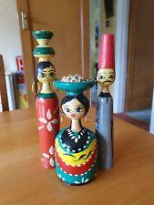 Vintage Egyptian Turned Wood Spindle Wood, Hand Painted Dolls