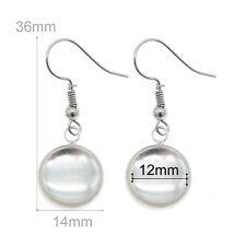 12mm Glass Cameo Silver Brass Base Drop Pendant Jewelry Dangle Earring Hooks
