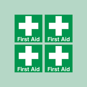 First Aid 50x50mm Pack of 4 Self Adhesive Stickers