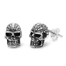 Gothic Style Fancy Skull .925 Sterling Silver Earring