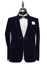 Men Navy Blue Smoking Jackets Designer Wedding Party Wear Blazer Coat