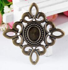 Lot of 5 CAMEO FRAME Antique Bronze-tone FILIGREE WRAPS 5.3cm x 5.3cm (0320)