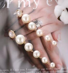 Gold Plated Handmade Stylish Resin Pearl a string of beads Women Earrings