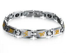 Men Women Stainless Steel Magnets Bracelet Buddhist OM Mani Padme Hum Bangle Her