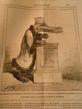 Caricature 1879 - Crocodile The new cashier of the ministry finance Egypt