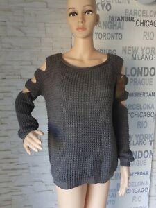 Schöner Wifem Woll Pullover Grobstrick grau neu mit Etikett aus Italien Gr. L