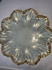 """Antique Limoges Small Serving Plate Gold raised Scalloped Edge 9.25"""""""