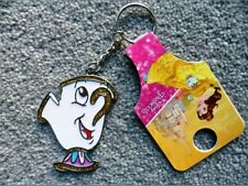 Primark Disney Beauty And The Beast Chip Cup Keychain Metallic Glitter NEW