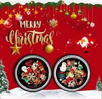 3D Nail Art Stickers Cartoon Christmas Decal Set Metal