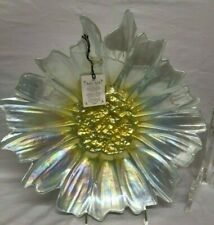 """White Pearl Flower Floral Decorative Bowl Plate AKCAM Turkey Luster 13"""" New"""