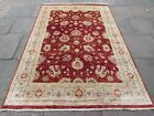 Vintage Traditional Hand Made Afghan Zigler Oriental Wool Red Carpet 247x170cm
