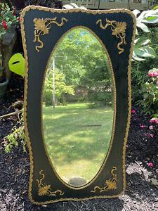 "Antique Victorian Oval Beveled Mirror Ebonized Single Piece Wood Frame Gold 46"""