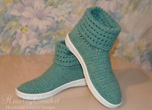 Women wool crochet boots for the street, handmade shoes, slippers, rubber sole