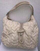 BANANA REPUBLIC WOMEN'S SHOULDER BAG KNITTED IVORY WOOL MIX LEATHER TRIM HANDBAG