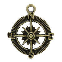 PD: 30 Bronzefarben Rund Kompass Charms Anhänger 30x25mm