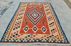 Authentic Hand Knotted Shrz Wool Kilim Kilm Area Rug 6 x 4 Ft (10088 KBN)