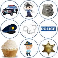 Polizei Auto Polizist Eßbar Tortenaufleger Party Deko Muffinaufleger Cupcake neu