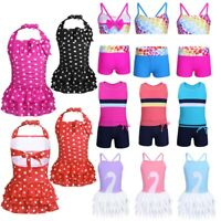 Girls Kids Tankini Set Swimwear Bikini Skirt Swimsuit Swimming Costume Age 3-14Y