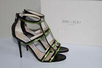 New sz 10.5 40.5 Jimmy Choo Thistle T-Strap Black & Green Ankle Sandal Pump Shoe