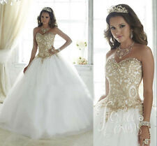 Princess Gold Lace Woman Wedding Dress Ball Gown Custom Color Bridal Dresses