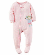 Carter's One Piece 4T Footed Fleece Monkey Sleeper Pajamas Toddler Pink New