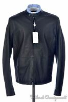 ARMANI COLLEZIONI Black Leather MOTO Mens Jacket Coat NWT $1,595 - 42