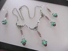 Vintage Art Deco Style Suffragette Glass Flower, Crystal Long Earrings Necklace