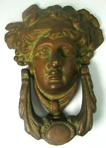 Large Antique Door Knocker 19th C Gilded Red Bronze Dionysus god goddess salvage