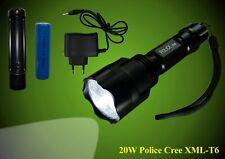 20W XML-T3 CREE LED Taschenlampe + Ladegerät + 18650 Akku 3200 mAh 1000lm Police