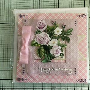 ANNIVERSARY CARD, HANDMADE GOLD EDGED VASE OF ROSES OR DIE CUT PALE LILAC ROSES
