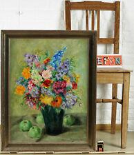 Marie From Fragstein 1870-1954 Oil Painting Antique Still Life Flower Apples Art