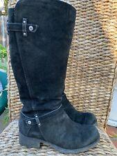 Ugg Boots Sheepskin Lined Platform Black Suede Zipper Womens 8 Made In Australia