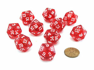 Pack of 10 Transparent 20 Sided D20 20mm Dice - Red