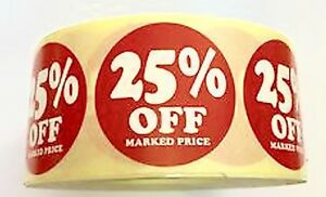 1000 x 25% off PRICE LABELS  RETAIL STICKERS 35mm