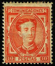 ESPAÑA 1876. Alfonso XII. 10 pesetas bermellón vivo. Nuevo*. Edifil 182.