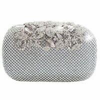 Unique Clasp Silver Diamante Crystal Diamond Evening bag Clutch Purse Party KLE
