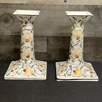 Pair Set of 2 Vintage Ceramic Floral Hand Painted Candle Stick Holders 6""