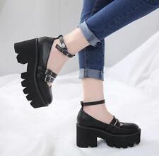 Women Block High Heel Platform Buckle Shoes Punk Round Toe Creepers College