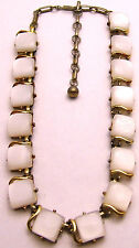 "Vintage 14+3"" 15mm CORO Necklace w/Shimmery White Squares Pretty Gold Tone"