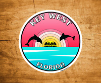 "Key West Florida Dolphins Decal Sticker 3"" Sunset Palm Trees"