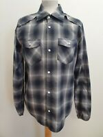 H984 MENS ADIDAS GREY BLACK CHECK L/SLEEVE COTTON SNAP SLIM FIT SHIRT UK M EU 50
