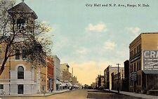 A79/ Fargo North Dakota Nd Postcard c1910 City Hall Stores N.P. Avenue