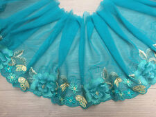 """10.62""""*1Y Embroidered Elastic Tulle Lace Trim in Peacock Green~Gorgeous Beauty~"""