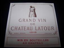 étiquette vin chateau LATOUR 1918 SPECIMEN Pauillac wine label wein etikett