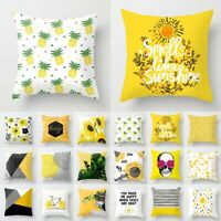 Yellow Throw Pillow Case Geometric Striped Flower Home Sofa Cushion Cover Decor