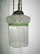 alte Deckenlampe, Milch - Glasschirm mit Glasstäben, original Jugendstil, TOP651